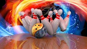3d odpłacają się kręgle piłka rozbija w szpilki Zdjęcie Stock
