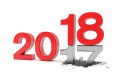 3d odpłacają się liczby 2017, 18 nad białym tłem - Obraz Stock