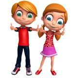 3D Odpłacają się Little Boy i dziewczyna z thums up pozuje Fotografia Royalty Free