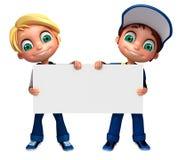 3D Odpłacają się Little Boy z białą deską Fotografia Royalty Free