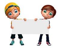 3D Odpłacają się Little Boy z białą deską Fotografia Stock