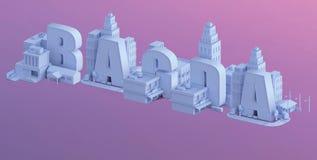 3d odpłacają się mini miasto, typografia 3d imię bagda Obraz Royalty Free