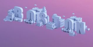 3d odpłacają się mini miasto, typografia 3d imię boston Obrazy Royalty Free