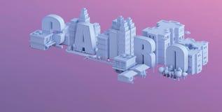 3d odpłacają się mini miasto, typografia 3d imię Cairo Fotografia Stock