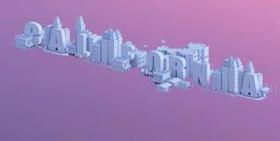 3d odpłacają się mini miasto, typografia 3d imię California Obraz Royalty Free