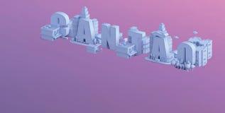 3d odpłacają się mini miasto, typografia 3d imię cantao Zdjęcia Stock