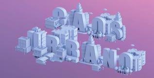 3d odpłacają się mini miasto, typografia 3d imię caos urbano Zdjęcie Royalty Free