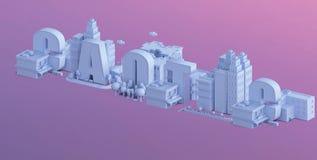 3d odpłacają się mini miasto, typografia 3d imię caotic Zdjęcia Royalty Free