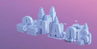 3d odpłacają się mini miasto, typografia 3d imię chaos Fotografia Royalty Free