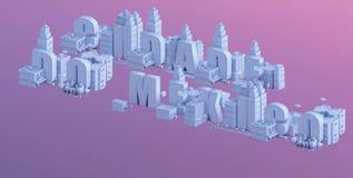 3d odpłacają się mini miasto, typografia 3d imię cidade robią Mexico Zdjęcie Stock