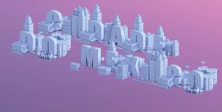 3d odpłacają się mini miasto, typografia 3d imię cidade robią Mexico Obrazy Stock