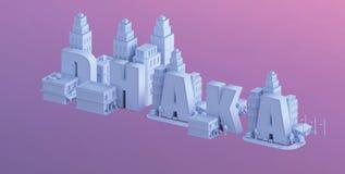 3d odpłacają się mini miasto, typografia 3d imię Dhaka Fotografia Stock
