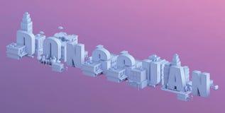 3d odpłacają się mini miasto, typografia 3d imię Dongguan Zdjęcie Royalty Free