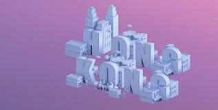 3d odpłacają się mini miasto, typografia 3d imię Hong kong Zdjęcie Royalty Free