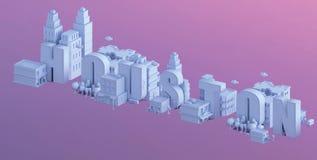 3d odpłacają się mini miasto, typografia 3d imię Houston Fotografia Stock