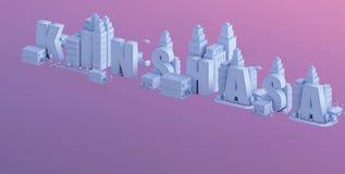 3d odpłacają się mini miasto, typografia 3d imię Kinshasa Zdjęcie Royalty Free