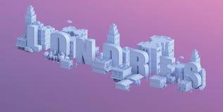 3d odpłacają się mini miasto, typografia 3d imię Londres Zdjęcie Stock