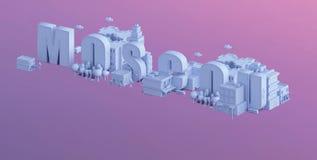 3d odpłacają się mini miasto, typografia 3d imię Moscou Fotografia Royalty Free
