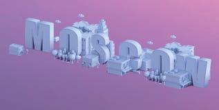 3d odpłacają się mini miasto, typografia 3d imię Moscow Zdjęcia Stock