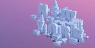 3d odpłacają się mini miasto, typografia 3d imię nowy York Obraz Stock