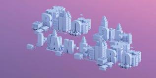 3d odpłacają się mini miasto, typografia 3d imię Rio De Janeiro Obraz Stock