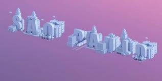 3d odpłacają się mini miasto, typografia 3d imię sao Paulo Zdjęcia Royalty Free
