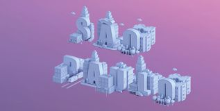 3d odpłacają się mini miasto, typografia 3d imię sao Paulo Obraz Royalty Free