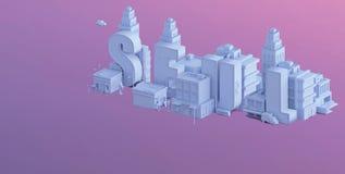 3d odpłacają się mini miasto, typografia 3d imię seul Obrazy Stock