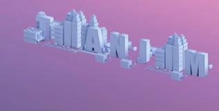3d odpłacają się mini miasto, typografia 3d imię Tianjin Fotografia Stock