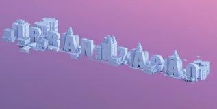3d odpłacają się mini miasto, typografia 3d imię urbanizacao Zdjęcie Stock