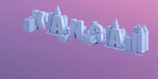 3d odpłacają się mini miasto, typografia 3d imię xangai Fotografia Stock