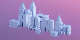3d odpłacają się mini miasto, typografia 3d wymieniają do domu Fotografia Stock