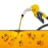 3d odpłacają się na białym tle, nozzle pompuje benzynę w zbiorniku paliwowego nozzle dolewania benzyna nad białym tłem, nozzle pu ilustracja wektor