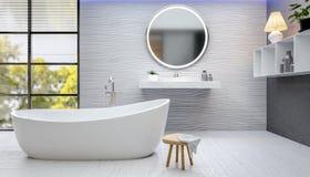 3D odpłacają się nowożytna łazienka z textured płytkami obraz royalty free