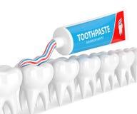 3d odpłacają się pasta do zębów cleaning zęby nad bielem Fotografia Stock