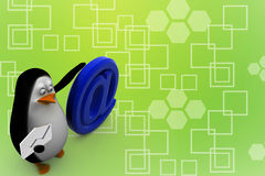 3d odpłacają się pingwin z tempo symbolu ilustracją przy Zdjęcie Stock