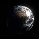 3D odpłacają się planety ziemia z nocy światłami Zdjęcia Royalty Free