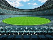 3D odpłacają się round krykieta stadium z nieba błękita siedzeniami i VIP pudełkami Obraz Royalty Free