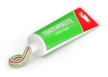 3d odpłacają się rozpieczętowany pasta do zębów nad bielem Zdjęcia Royalty Free