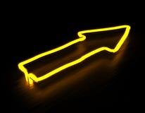 3d odpłacają się strzała żółty neonowy znak na czarnym tle Obrazy Stock
