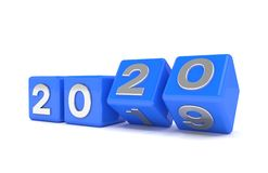 3d odpłacają się sześciany - błękit - nowego roku 2020 pojęcie - fotografia stock