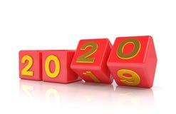 3d odpłacają się sześciany - czerwień i złoto - nowego roku 2020 pojęcie - obrazy royalty free