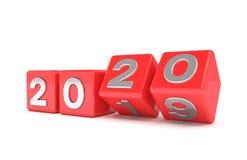 3d odpłacają się sześciany - czerwień - nowego roku 2020 pojęcie - obraz royalty free