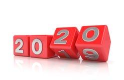3d odpłacają się sześciany - czerwień - nowego roku 2020 pojęcie - zdjęcia stock