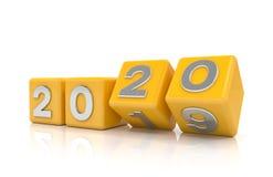 3d odpłacają się sześciany - kolor żółty - nowego roku 2020 pojęcie - zdjęcia royalty free
