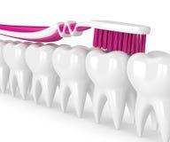 3d odpłacają się toothbrush cleaning zęby Obrazy Stock
