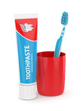 3d odpłacają się toothbrush z pasta do zębów i filiżanką Obraz Stock