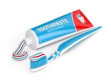 3d odpłacają się toothbrush z pasta do zębów nad bielem Fotografia Royalty Free