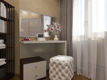 3D odpłacają się wewnętrzny projekt sypialnia w beżowym kolorze ilustracja wektor
