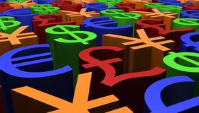 3D Odpłacają się wizerunek waluta znaki Obraz Stock